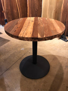 Bistro round reclaimed teak wood table with iron base