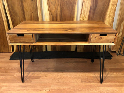 Teak wood desk with shelf and drawers