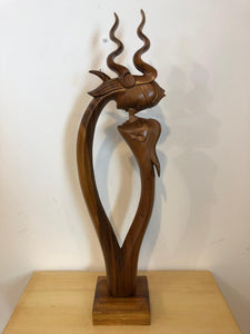 Viking couple abstract wood sculpture
