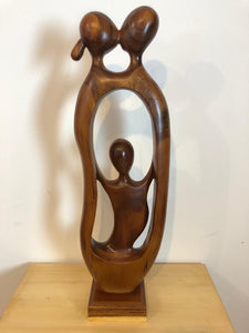 Family abstract wood sculpture