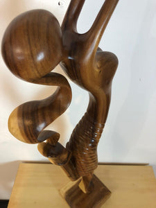 Ballerina dancer abstract wood sculpture