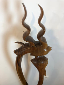 King and queen abstract wood floor sculpture
