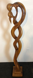 Kissing couple abstract wood floor sculpture