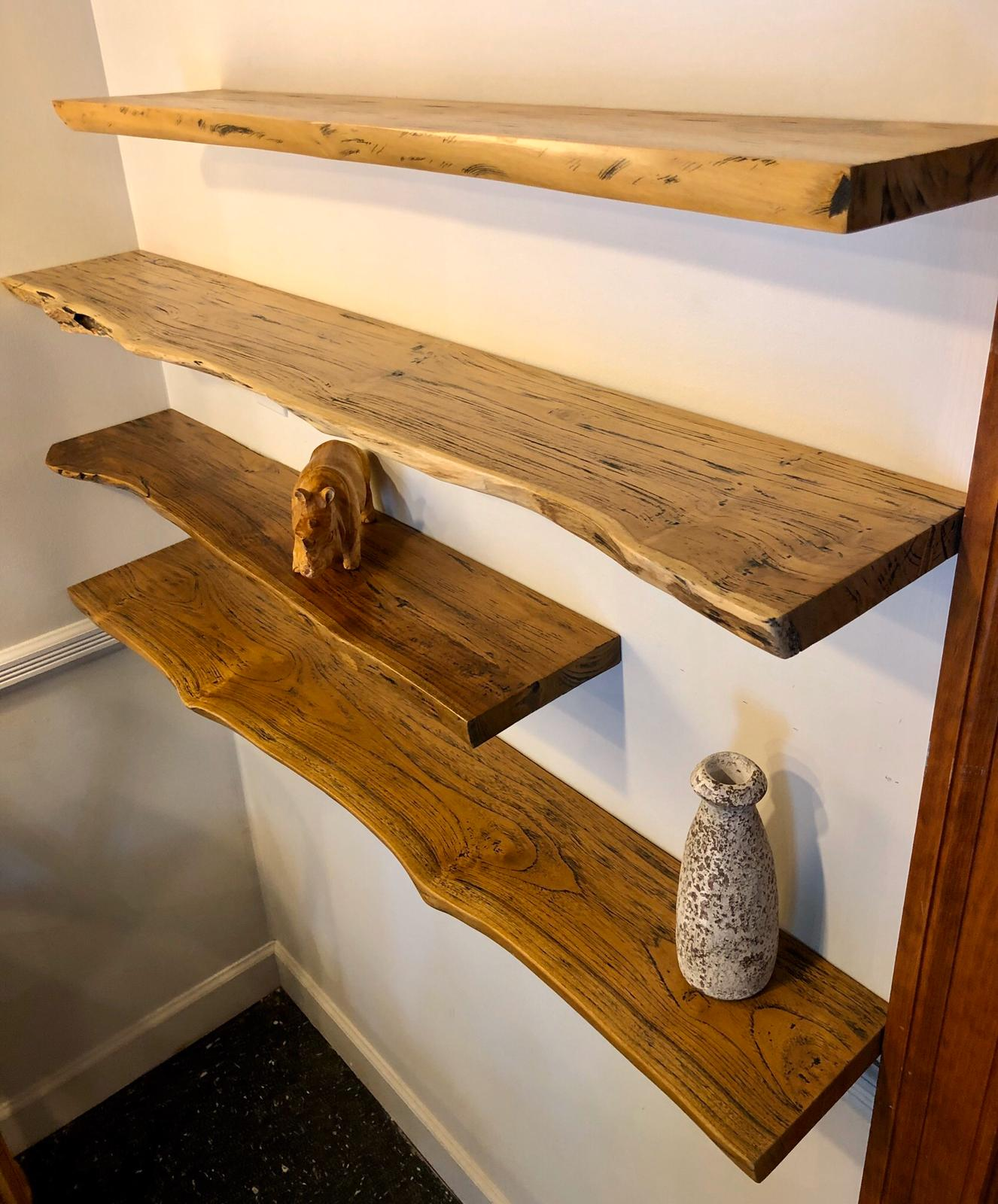 Rustic live edge solid teak wood floating shelf with hardware 35.5