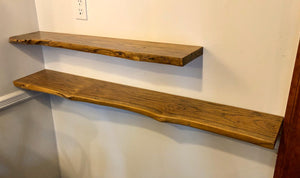 Rustic live edge solid teak wood floating shelf with hardware 35.5""