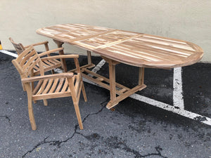 "Teak expandable outdoor table 36"" x 75-110"""