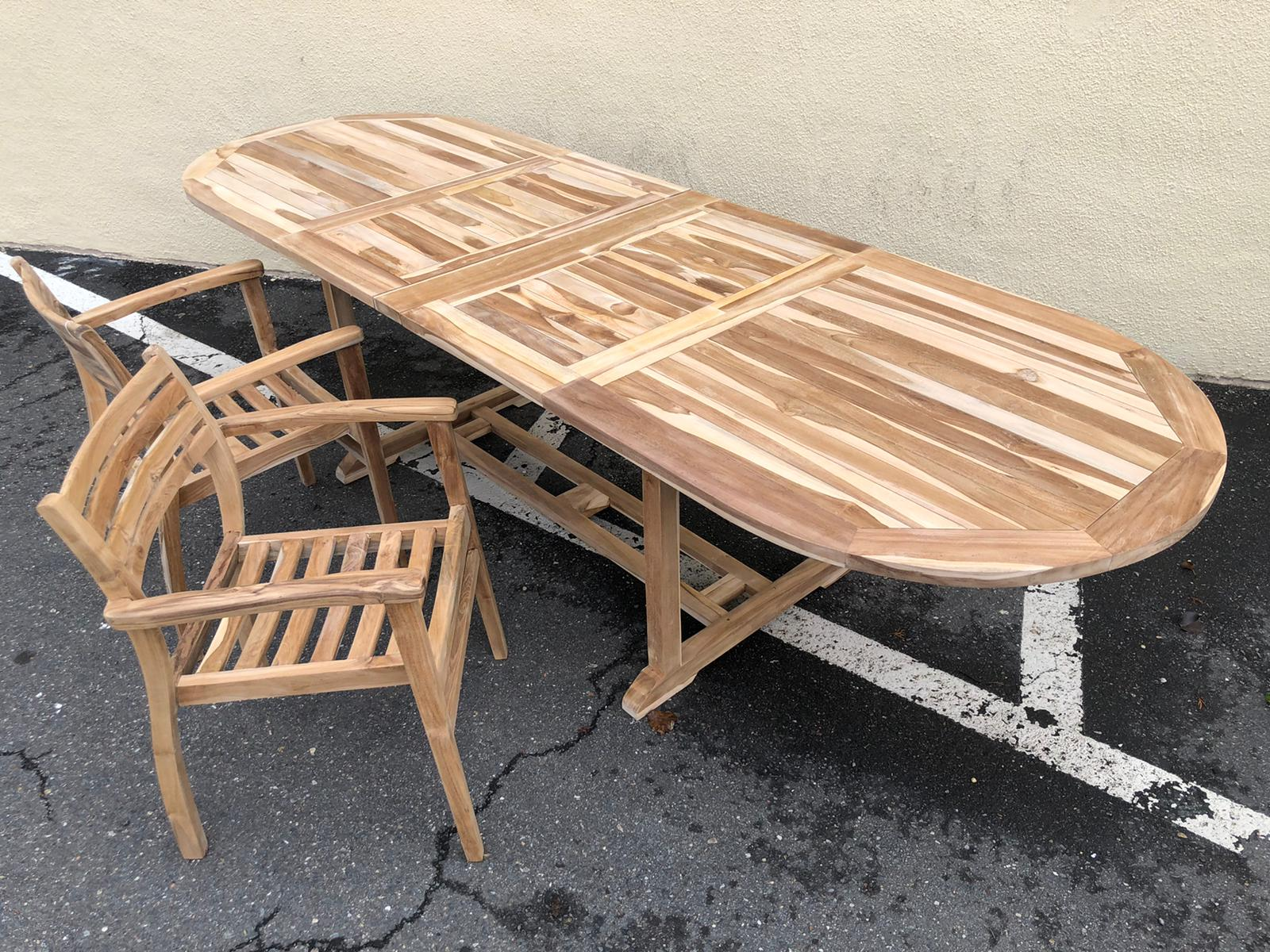 Teak expandable outdoor table 36