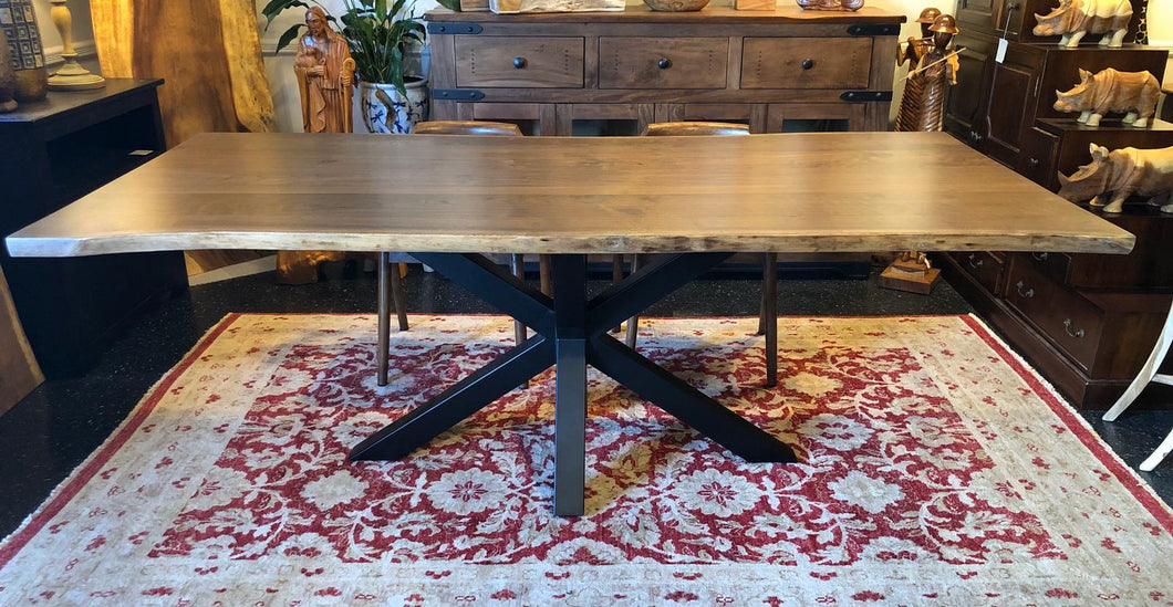 Live edge walnut slab dining table 84
