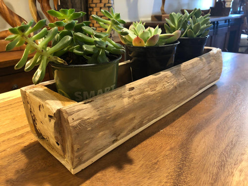 Rustic teak wood container for flowers