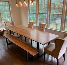 Live edge walnut slab dining table
