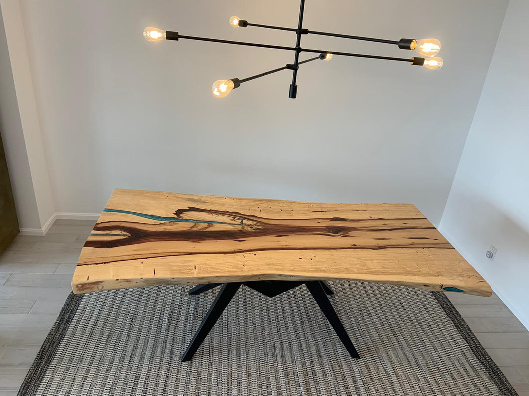 Live edge tamarind wood slab dining table