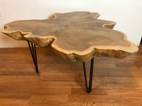 Live edge teak root wood slab organic coffee table freeform with metal hairpin legs