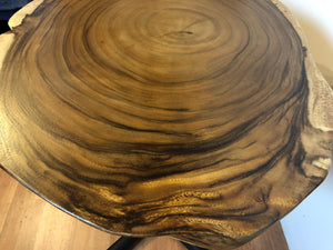 "Live edge acacia wood slab 23"" round table"