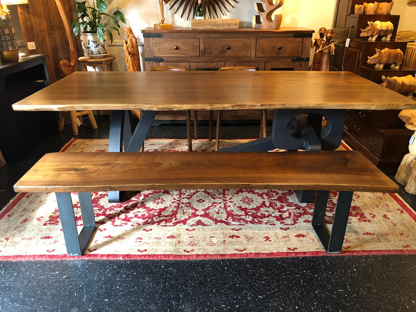 Live edge walnut wood slab dining table 88