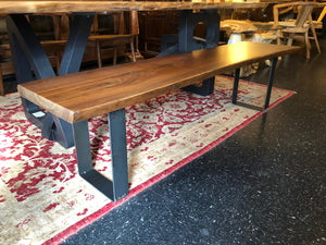 "Live edge walnut wood slab dining table 88"" with bench set"