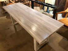 Reclaimed teak wood dining table in whitewash finish