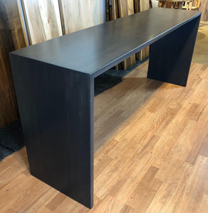 Custom waterfall counter height table maple wood in graphite (dark gray)