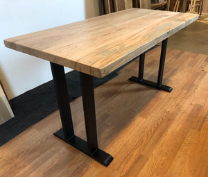 Wormy maple wood dining table