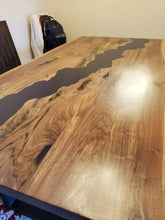 Live edge acacia wood slab with epoxy