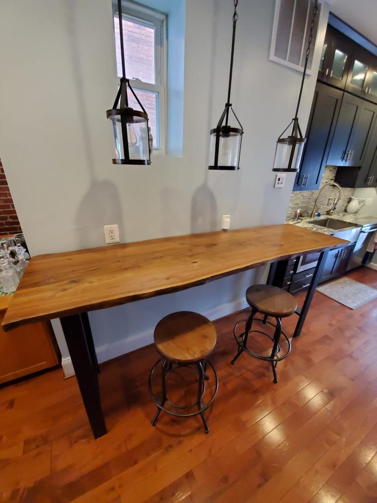 Live edge walnut bar height table