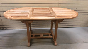 "Teak wood outdoor table expandable extendable with butterfly leafs 47.5"" - 67.5"""