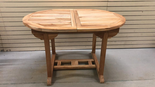 Teak wood outdoor table expandable extendable with butterfly leafs 47.5