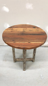 "Teak reclaimed 22.5"" round table"