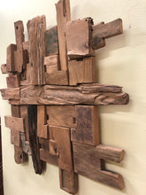 Recycled natural teak wood pieces wall art decor