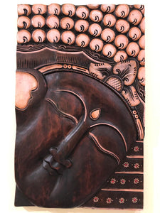 Handcarved wood wall sculpture painting buddha