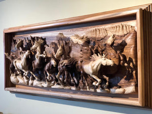 Wall sculpture 3D art running horses from acacia wood