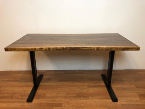 Live edge desk with adjustable height base with manual crank
