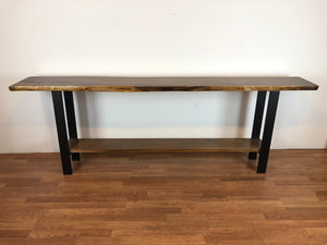 Live edge wood slab console table with shelf
