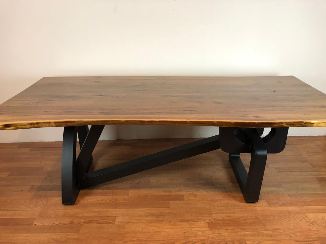 Live edge wood slab dining table with art deco base