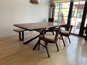 Modern live edge wood slab dining