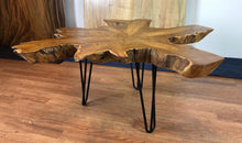 Live edge teak root coffee table