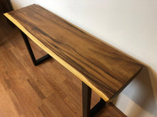 Live edge wood slab console table