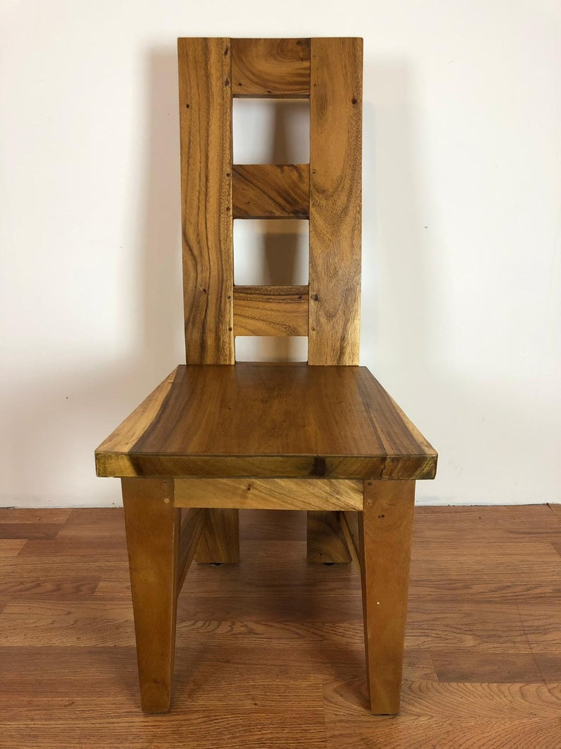 Geometric acacia dining chair