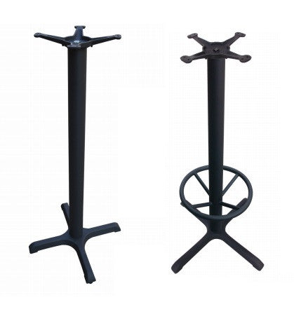 4-Prong Bar Height Base with Optional Footrest in Cast Iron
