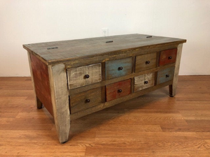 Coffee table with hinged lift top storage and multi drawers