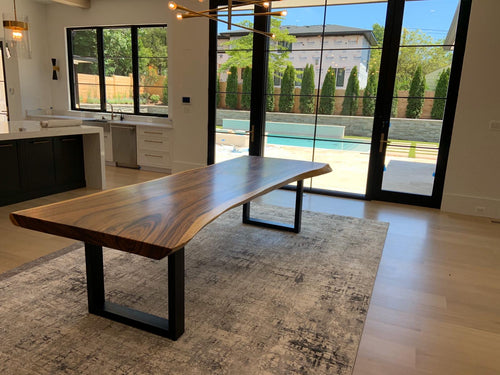 Live edge acacia wood slab dining table