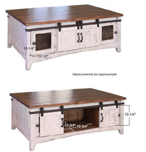 Rustic dual tone white brown coffee table with sliding barn doors