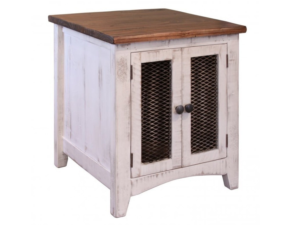 Rustic dual tone white brown end table