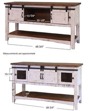 Rustic dual tone white brown sofa table with sliding barn doors