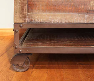 Urban industrial coffee table on wheels with lift top