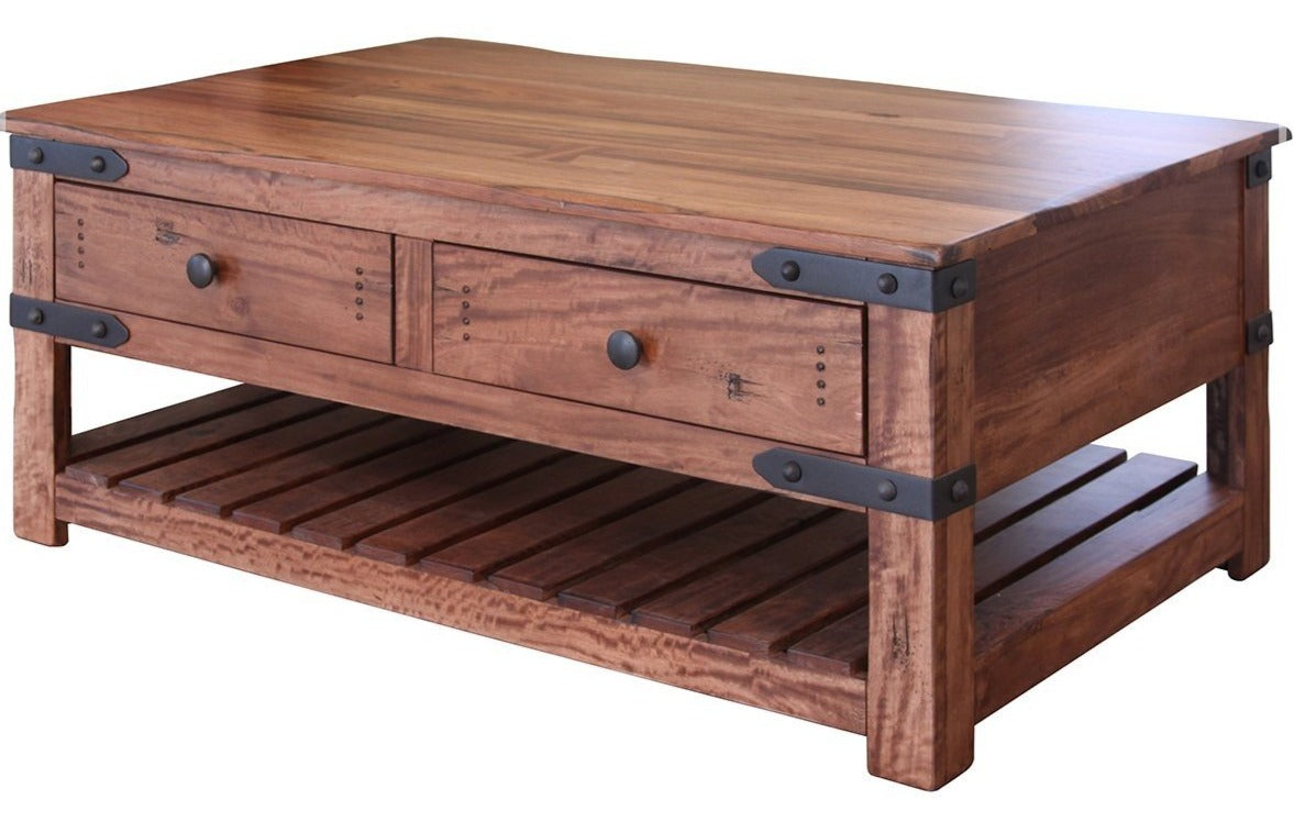 Modern industrial coffee table four-drawer
