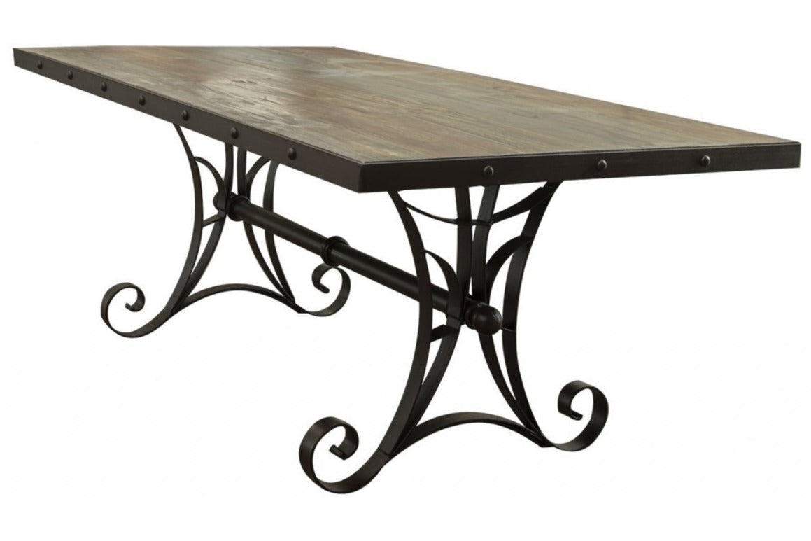 Dining table in multicolor with iron base