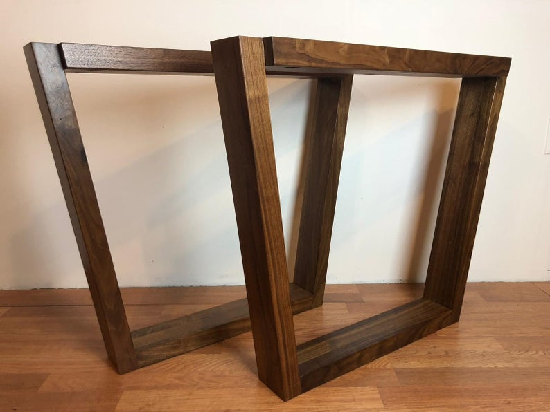 Trapezoid walnut wood table base 28