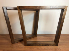 Trapezoid walnut wood table base 28""