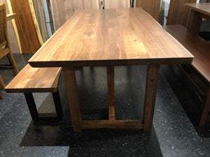 Tri square walnut wood table base