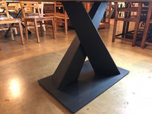 X pedestal metal table base leg in matte black